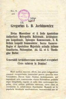 Venerabili Archidioecesano saeculari et regulari Clero salutem in Domino!