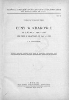 Ceny w Krakowie w latach 1601-1795 = Les prix à Cracovie de 1601 à 1795
