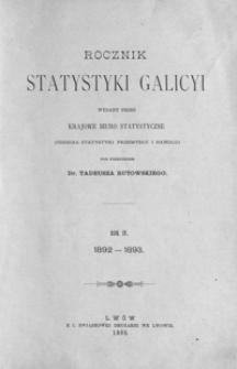 Rocznik Statystyki Galicyi