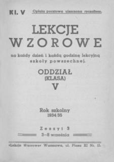 Lekcje wzorowe na każdy dzień i każdą godzinę lekcyjną szkoły powszechnej : oddział (klasa) V : rok szkolny 1934/35. Z. 3, 3-8 września