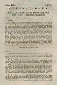 Ordinationes Ad Clerum Curatum Dioeceseos Gr. Cat. Premisliensis. Nro III