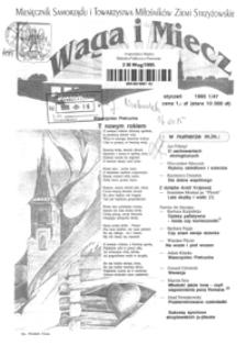 Waga i Miecz : miesięcznik Samorządu i Towarzystwa Miłośników Ziemi Strzyżowskiej. 1995, [R. 5], nr 1 (styczeń)